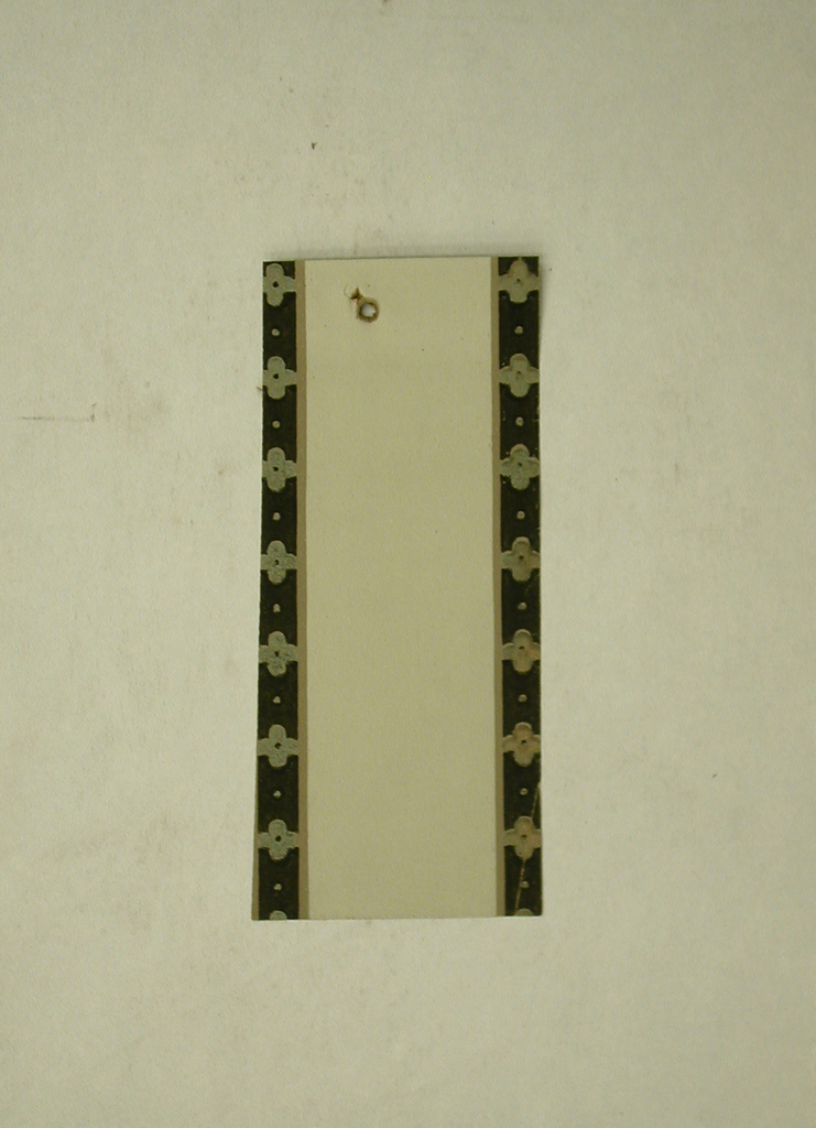 Narrow taupe border containing bands of metallic gold floral motifs on black along either edge.