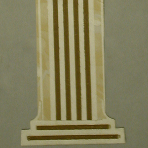 Cut-out arches that connect to a series of columns. Columns are fluted in an almost floral shape. Both columns and arches are traces by four, thin, brown lines. Above the arches is a white border with a 'V'-shaped motif. THe background is an off-white done with faux-marble markings.