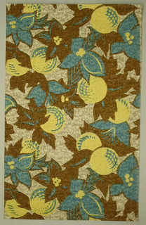Large pattern of blue and brown flowers with round, yellow fruits. Background is off-white. Paper is embossed.