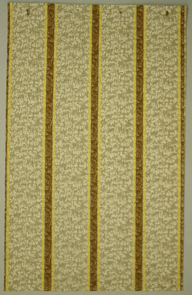 Narrow brown stripe centered between yellow pinstripes alternates with wider band of mottled brown. Printed on paper embossed like rough plaster.