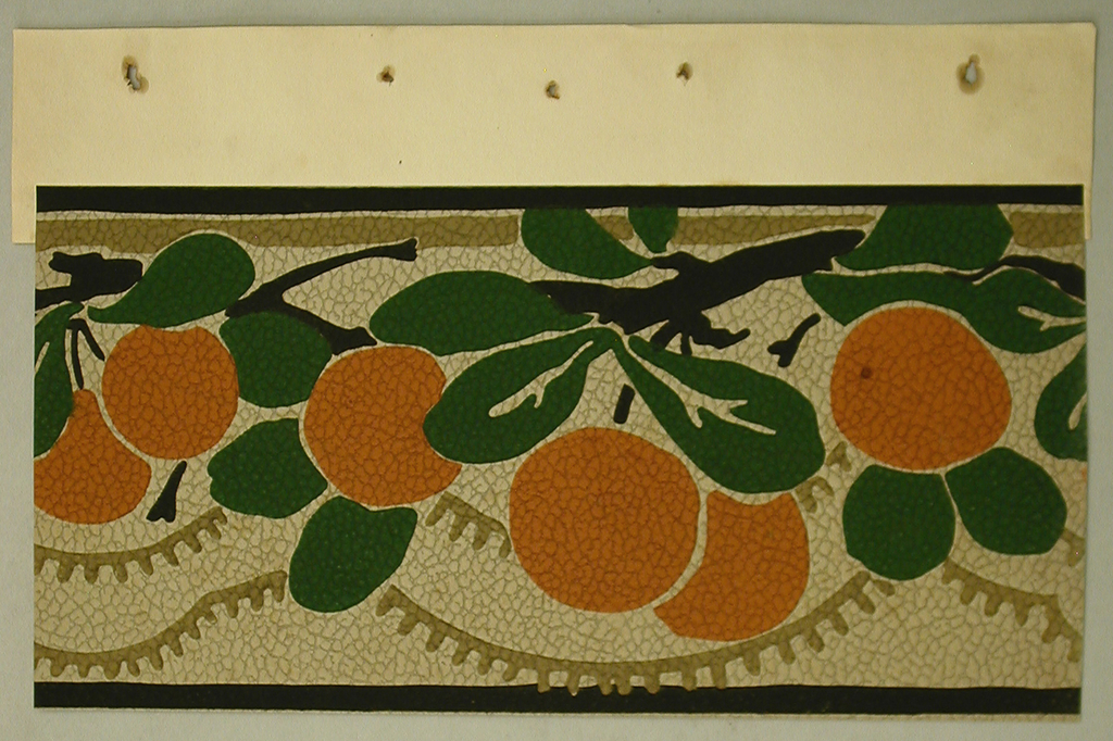 Flat, graphic oranges hanging from branches with rounded forest-green leaves. Framed by thin brown border.  Below top border a taupe stripe weaves in-between the leaves and branches. The same color is used for two rows of fringed scalloping. Off-white background on pebble embossed paper.