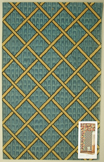Diamond-frame motif done as a basket-weave. The background is a dusty turquoise with vertical markings. The lines to create the diamond shapes are yellow and outlined in black. Illustration of room interior pasted onto wallpaper on the bottom right-hand corner.