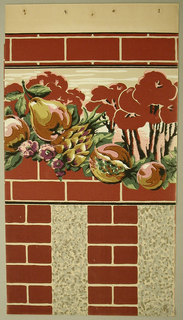 Swag of orange-yellow fruits and purple flowers with leaves. Landscape scene behind fruit with red trees and tan background. Red bricks frame the top and bottom of border.