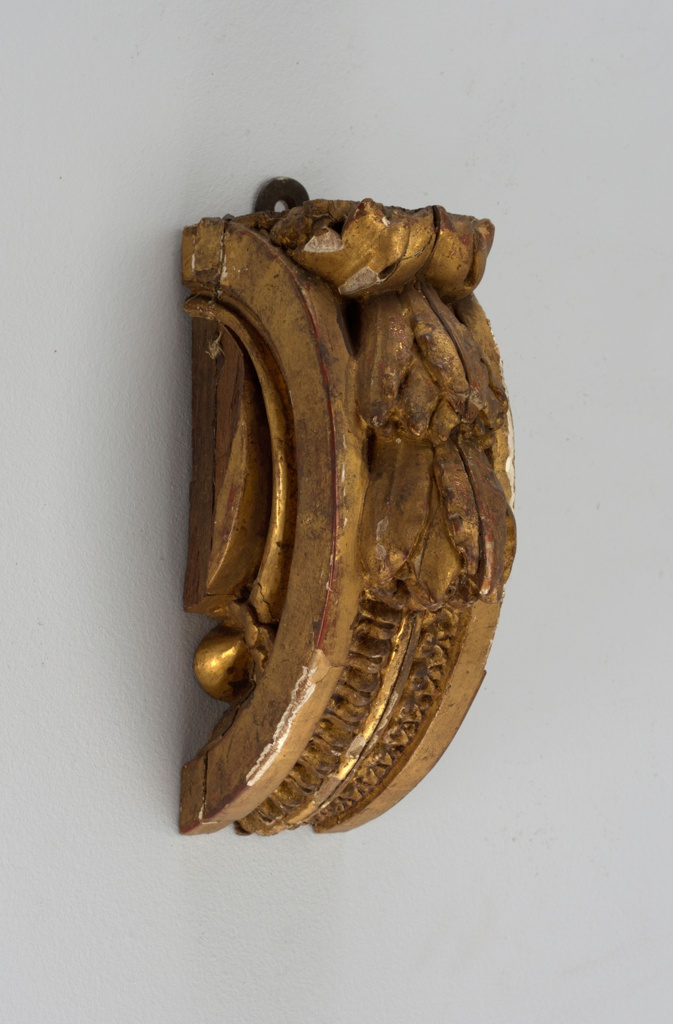 Bracket fragment, portion of a console, with laurel and acanthus decoration.