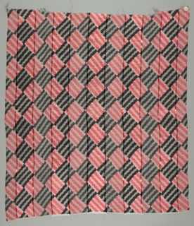 Sample with alternately open and dense plain woven broad bands separated by narrow satin woven bands is printed with diamonds of wavy lines alternating light and dark shades of red and grey. Both selvedges present.