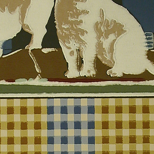 Two white cats, one sitting, one crouching, with a landscape background of a brown house with a red roof and a pale blue sky.