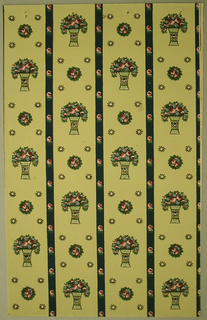 Art Deco sidewall with design of off-set columns formed from two alternating motifs; one motif a small circular cluster of roses surrounded by four small sunburst motifs marking the corners of a square; the other motif a bouquet of roses in a decorated vase with concave sides; columns separated by black bands decorated with regularly-spaced small roses; naturalistic colors and shading on foliage; yellow-green ground.