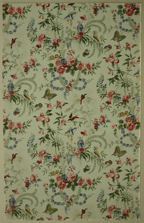 Art Deco/Neo-Rococo sidewall with pattern of scattered bunches of flowers and leafy grasses enlivened with round fruit, butterflies, tropical birds, faintly-rendered tropical trees, and chinoiserie motifs of a figure holding a parasol and another sitting on a string; rectangular repeat in off-set columns; loose watercolor-like rendering with attempts at shading; color scheme of pink, dark red, light and dark blue, yellow, and light green on celadon ground.