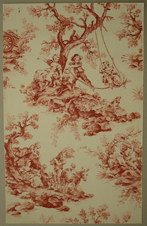 Art Deco/Neo-Rococo sidewall with design of vignettes of rural folk playing and swinging under a tree, fording a stream with a wagon of goods, or resting while traveling with cattle and wheat; rough, expressionistic rendering in sepia evokes 18th-century hand-painted monochrome papers; light green ground covered with tiny dots. Styled in toile format.