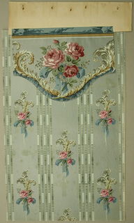 Cut-out Art Deco valance with waved lower edge; Design with large bunch of red roses and green primroses tied with blue ribbon; white ostrich feathers, blue ribbons, and small red beading line lower edge; thin frieze of knotted blue ribbon along top edge; watercolor-like rendering with naturalistic shading and coloring; pale green ground.