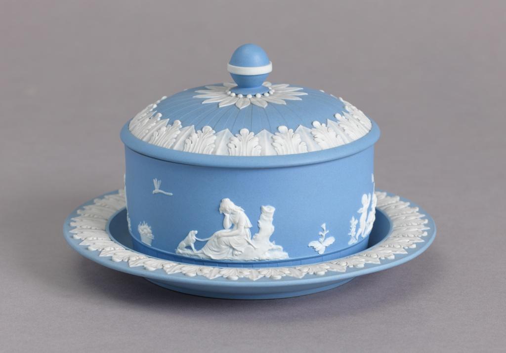 Blue Jasperware Butter Dish Serving Dish