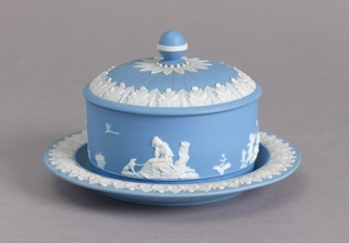 Blue Jasperware Butter Dish Serving Dish