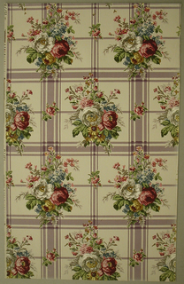 Art Deco sidewall with pattern of two motifs of highly naturalistic clusters of white, red, and yellow roses and smaller wildflowers; motifs are printed in alternating off-set rows over a striped checkered pattern in lavender on beige ground; smaller motifs of single rose flowers also fill gaps between larger clusters.