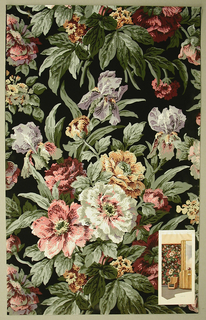 Art Deco/Neo-Victorian sidewall with large-scale pattern of clusters of pink, yellow, white, and orange wild roses and lavender-and-yellow irises with sage green foliage; naturalistic block-print detailing, shading, and coloring; black ground; lithograph at bottom right shows paper applied to an interior wall.