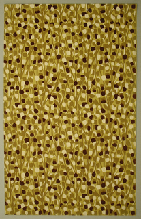 Art Deco sidewall with all-over abstract pattern of light brown branches rendered in simple, long strokes bearing layered rectangular daubs of white, brown, and black; yellow ground.