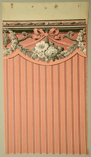Scalloped Art Deco/Neo-Victorian valance with design of a cluster of roses dangling from a ribbon tied into a large bow; on either side a wreath of roses encircle a flaring, v-shaped arabesque; leafy garlands follow the scalloped edge; thin frieze at the top with chain of leaves; naturalistic shading and detailing; color scheme is in shades of salmon, brick red, and black except for brick red band along the scalloped edge and brick red highlighting on the ribbon.