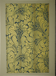 Art Deco sidewall with Neo-Renaissance or Neo-Baroque all-over design of lush stylized yellow arabesques of leafy bellflowers; flowers have blue outlining and navy blue wave-patterns ending in spirals applied along part of their central petals; deep blue ground; clusters of yellow-brown vertical stripes printed at regular intervals over pattern; thicker stripes at center are bordered by series of increasingly thinner stripes.