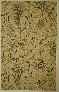 Art Deco sidewall with Neo-Renaissance or Neo-Baroque all-over design of lush stylized tan arabesques of leafy bellflowers; flowers have black outlining and  wave-patterns ending in spirals applied along part of their central petals; tan ground.