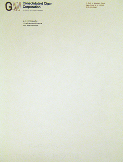 Letterhead, Consolidated Cigar Corporation, after 1960