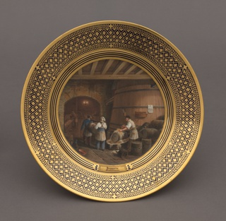 "Circular plate. In center, a polychromed scene of barrel washing, ""Brasserie"" above ""Entonnerie."" beneath, gilt rim with deep blue diaper pattern."