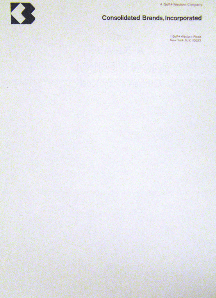 Letterhead, Consolidated Brands, Incorporated, after 1960
