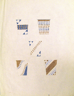 Vertical sheet with 5 sketches of designs of Dixie cups, all decorated with blue and brown geometric motifs.