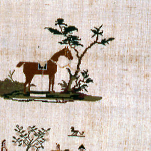Unfinished sampler, blank at top and with isolated motifs at bottom, including a horse under a tree, a ship, and several scenes with figures.