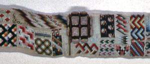 Eighty patterns arranged on a narrow width. One pattern is in raised work.