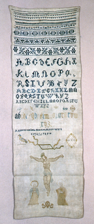 Pattern bands and alphabet in blue at top; large crucifixion scene at bottom.
