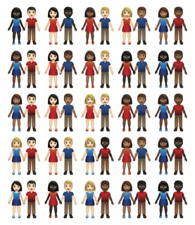 Digital files depicting guidance images for full set of 55 emoji couple images, spanning all five skintones and same-gender and mixed-gender couples, as well as guidance images for interface layouts