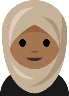 Digital files depicting one of three guidance images for the proposed Person With Headscarf Emoji: the bust of a woman with black clothing and a beige headscarf; a beige headscarf in a ghost state with phantom wearer; and a beige scarf as a loose item of clothing.