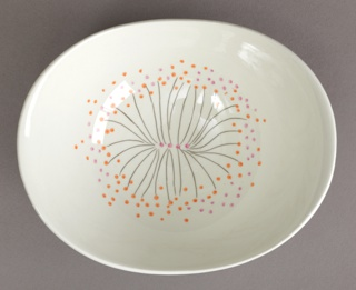 Flaring oval bowl raised at sides, low circular foot ring; interior decorated with stylized sunburst pattern of black lines with pink and orange dots on a white ground.