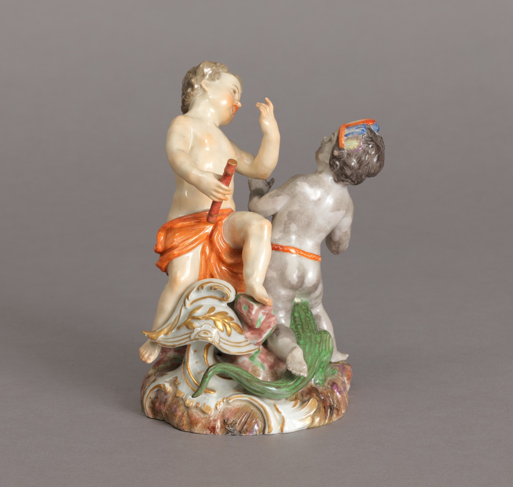 "Allegorical Figure Depicting Putti as ""Europe"" and ""America"" Figure"