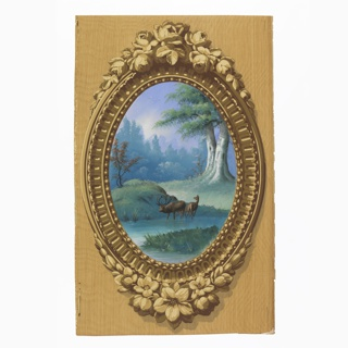 Vertical rectangle. Simulation of elaborately carved oval wood frame, brought to the rectangle by simulated surface of graining. Enclosed in the frame is a painted representation of foliage and two deer.