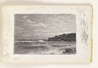 Delicately hatched sketch of dark, rough ocean crashing against rocks in bottom right. At left in distance, dark protruding land mass, with cloud covered sky. Miscellaneous pen strokes in all margins outside image.