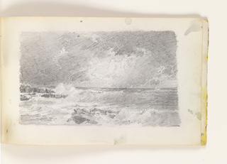 Sketchbook Folio, Sketch of Rough Sea with Rocks and Dark Sky