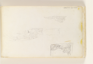 Sketchbook Folio, Unfinished Study of Rock (recto); Studies of Cliffs and Small Landscape (verso)