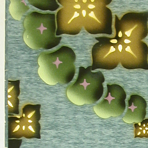 Group of four stylized flowers, square in shape, enclosed within foliage swag, with two smaller pendent flowers at bottom of swag. Bottom right corner missing. Printed in yellows, browns and greens on medium blue striae ground.