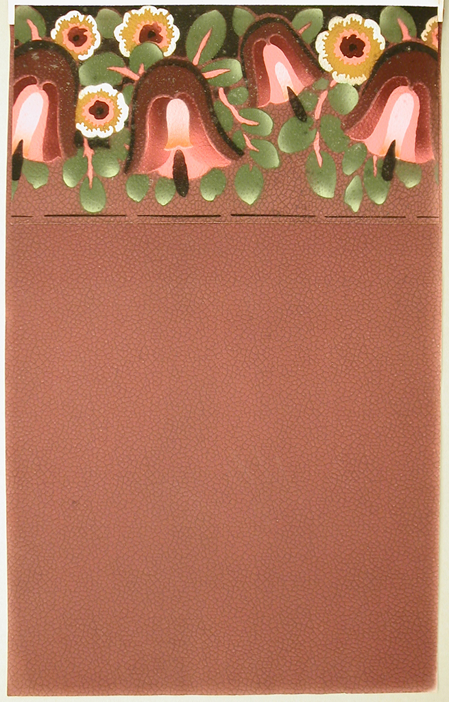 Large-scale bell-flowers in shades of pink, along with another stylized floral motif, set among pendent foliage on stems. Printed on burgundy paper embossed with pebble texture.
