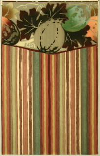 Multi-color striped sidewall printed with varying width vertical stripes in warm colors of rust, brown, green and off-white.