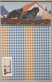 Alternating blue-white and orange-white checkered stripes. Illustration of room interior pasted onto wallpaper on the bottom left-hand corner.