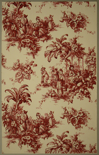 Neo-Rococo sidewall with pattern of Chinoiserie vignettes encircled by foliage; two large scenes depict a Chinese family in a garden and a collection of figures relaxing under a gazebo by a river; color scheme of reddish brown with wealth of details done in loose strokes reminiscent of eighteenth-century monochrome printed or hand-painted papers; beige ground. Designed in style of toile.