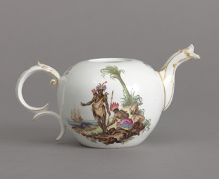 """Teapot with Allegorical Scenes of """"Africa"""" and """"America"""" Teapot, ca. 1765"""