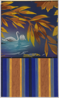 Wide frieze with two swans swimming, with large pendent branch overhead. Printed in colors on deep blue ground.