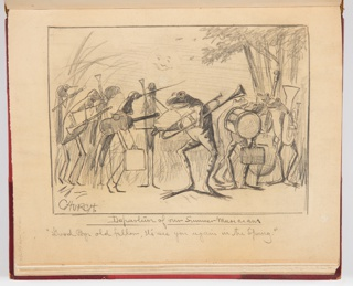 Recto: Sketch for illustration with frog and mosquito musicians.  Verso: Three birds perched in a tree, looking towards right.