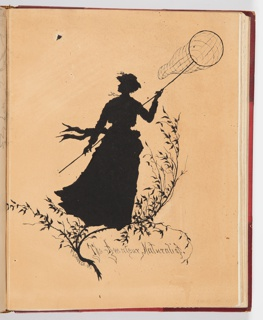 Silhouetted female figure with butterfly net.