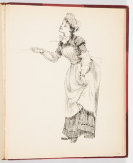 Sketch of female figure in profile and smiling with hat and apron holding a spatula. In the final image, she is flipping pancakes for a group of bears.