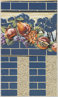 Swag of orange-red fruits and purple flowers with leaves. Landscape scene behind fruit with blue trees and tan background. Blue bricks frame the top and bottom of border.