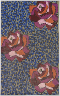 Large angular roses with petals in red, pink, and orange. Background is a series of vertical stems with light and dark blue buds. Background is tan. Paper is pebble embossed.