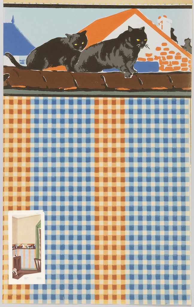 Two black cats sitting a brown roof with orange and blue rooves behind them and a light blue sky. A thin black line runs along the top of the border and a light blue line framed by a thin black line runs across the bottom.